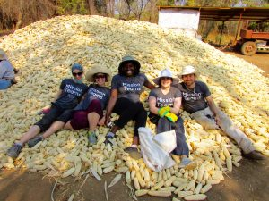 Members of the team with a pile of corn